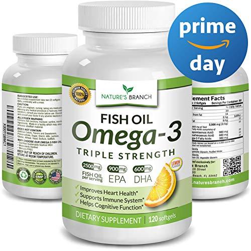 ★ Best Triple Strength Omega 3 Fish Oil Pills 2500mg Burpless HIGH Potency Lemon Flavor 900mg EPA 600mg DHA Pure Liquid Softgels 120 Capsules Brain Joints Eyes Hair Heart Health -