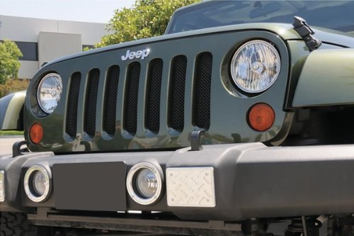 - TRex Grilles 46481 Small Mesh Steel Black Finish Sport Grille Bolt-on for Jeep Wrangler