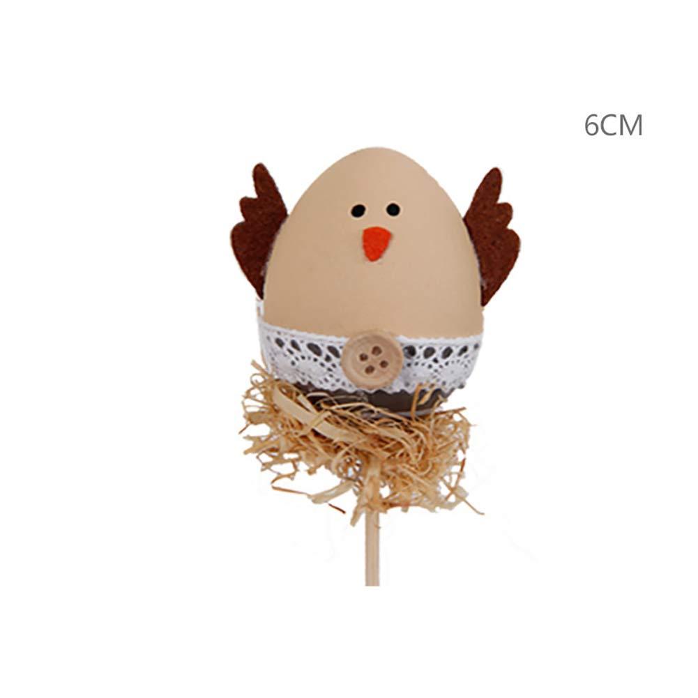 Ouken Uovo di Pasqua Picks su bastoni Colorati Uova dipinte di Pasqua con i bastoni Uova di Pasqua Decorazione (White Wings)