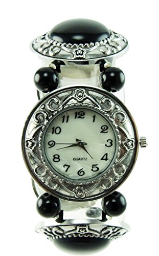 Women's Black Onyx Stretch Band Watch Onxy Stones Vintage Dial Large Numbers