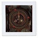 3dRose Heike Köhnen Design Steampunk - Steampunk clockwork in rusty metal - 16x16 inch quilt square (qs_262368_6)