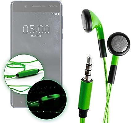 DURAGADGET Auriculares In-Ear con Luz LED Verde para Smartphone Nokia 8, Nokia 5, Nokia 3 / Doogie Y6, X9 Pro, X5 MAX Pro, Doogie F7: Amazon.es: Electrónica