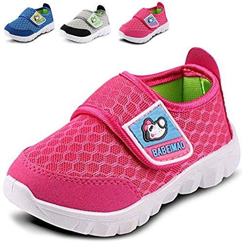 LONSOEN Kid Mesh Sneakers Athletic Hook-and-Loop Light Weight Running Shoes(Toddler/Little Kid),Hotpink,KFL001 CN23 (Best Girls School Shoes)