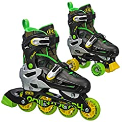 Roller Derby flux Inline/quad combination skates are great for beginners. The straight line chassis can be interchanged for the quad chassis, as desired, providing more variety for your child while offering the right amount of support as skat...