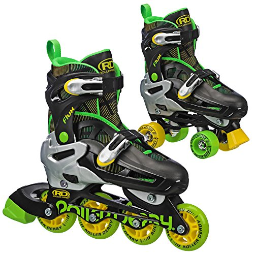 Flux Boys Inline/Roller Combo Skate (Black/Green, Small)