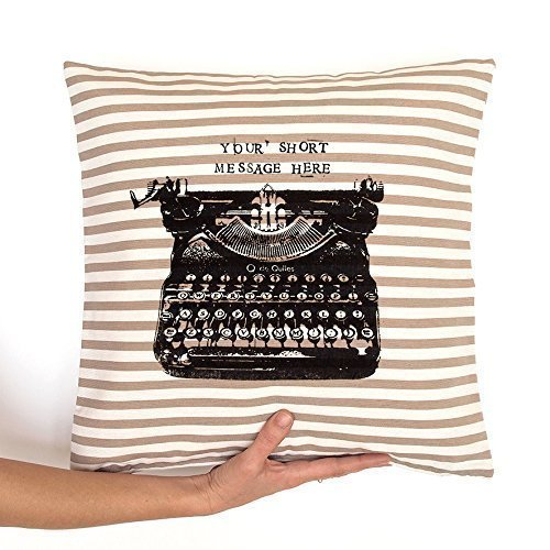 Cojín de rayas máquina de escribir. Regalo personalizado ...