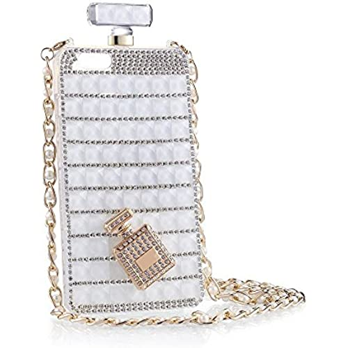 iPhone case, KAMIER Perfume Bottles Cover Phone Case Diamond with Pearl Mobile Phone Chain-White,Galaxy S7 Sales