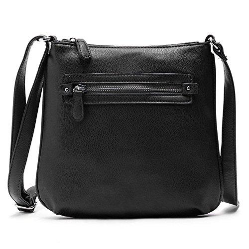 Medium Crossover (Duketea Medium Crossbody Purse for Women, Faux Leather Crossover Shoulder Bag Black)