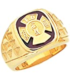 US Jewels And Gems Men's 10k Yellow Gold Firefighter Ring (Size 8.5)