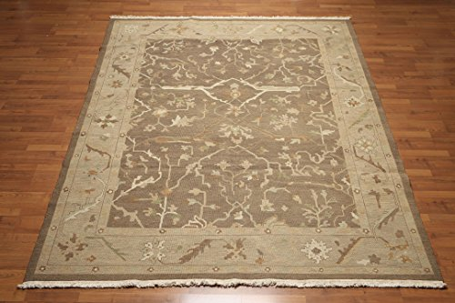 - 8'x10' Jojo Light Brown, Tan, Olive, Beige, Multi Hand Knotted Oushak Design Reversible Nourisan Nourmak Soumak Wool Oriental Area Rug