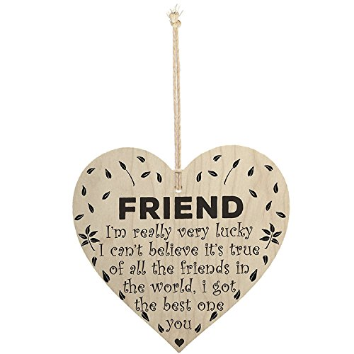 Friendship Wall Plaque - Meijiafei Friend The Best One is You Wooden Hanging Heart Best Friendship Plaque Gift Sign