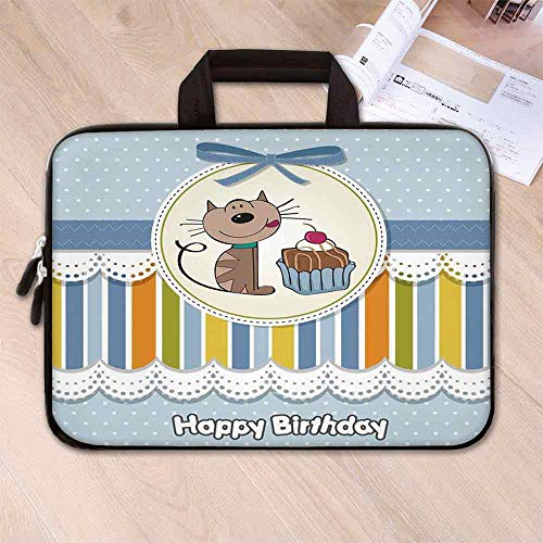 Birthday Decorations for Kids Lightweight Neoprene Laptop Bag,Present Wrap Like Image Chocolate Cake Cat Party for Laptop Tablet PC,15.4''L x 11''W x 0.8''H