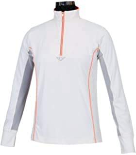 08091a5c0 TuffRider Ladies Neon Mock Zip Long Sleeve Sport Shirt - White Neon Peach X-