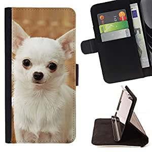For Samsung Galaxy Note 4 IV Happy White Chihuahua Dog Small Leather Foilo Wallet Cover Case with Magnetic Closure