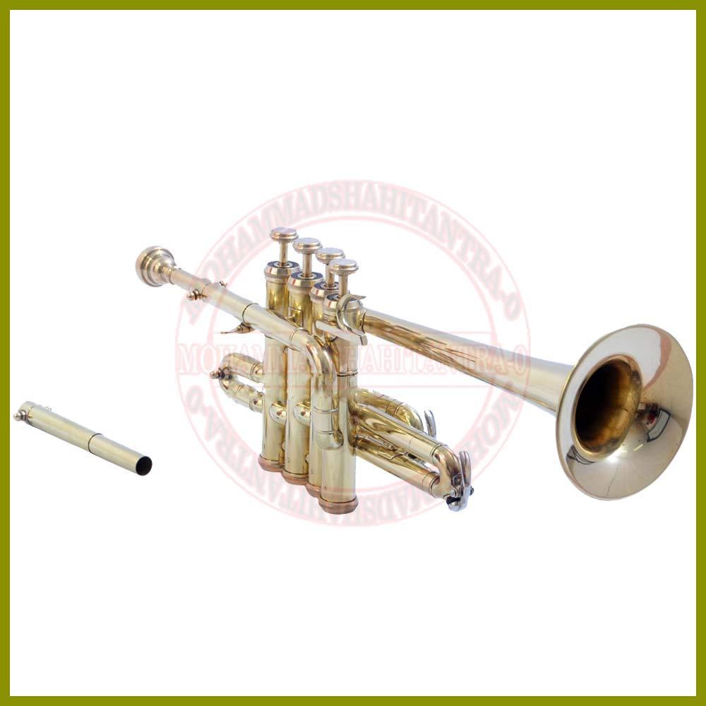 NASIR ALI BEAUTIFUL Brass Piccolo Trumpet Brass Finish Picollo Bb/A Pitch W/Case-Mp Gold VTR456
