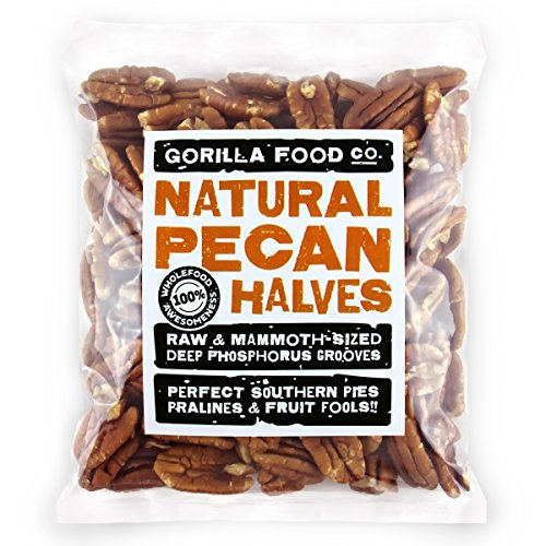Gorilla Food Co. Pecan Halves Raw Mammoth – 1 Pound Resealable Bag