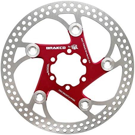 ロードバイクディスク マウンテンバイクBMX MTB 160mmフローティングローターフローティングディスクブレーキディスク6ネジアルミニウム (色 : 160MM red)