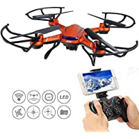 GEEDIAR JJRC H12WH 2.4GHz WIFI FPV Drone 2MP HD Camera Live Video RC Quadcopter Drone with 4CH 6-Axis Gyro Altitude Hold RTF 3D Flips and Rolls Headless Mode Brilliant LED Light Quadcopter