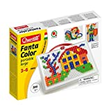Quercetti Fantacolor Portable Large - Mosaic Pegboard with 300 Pegs - A Timeless Arrangement Game with Sturdy Carry Case for Ages 4 + (Made in Italy)
