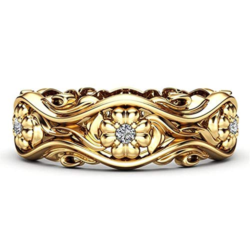OldSch001 Women Vintage Creative Sunflower Chrysanthemum Wedding Rings Rose Gold Plated Ring Diamond Ring(Gold,6)