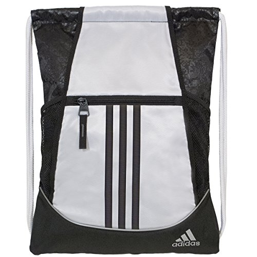 adidas Alliance II Sackpack, White/Black Emboss Static, 18 x 13.75-Inch