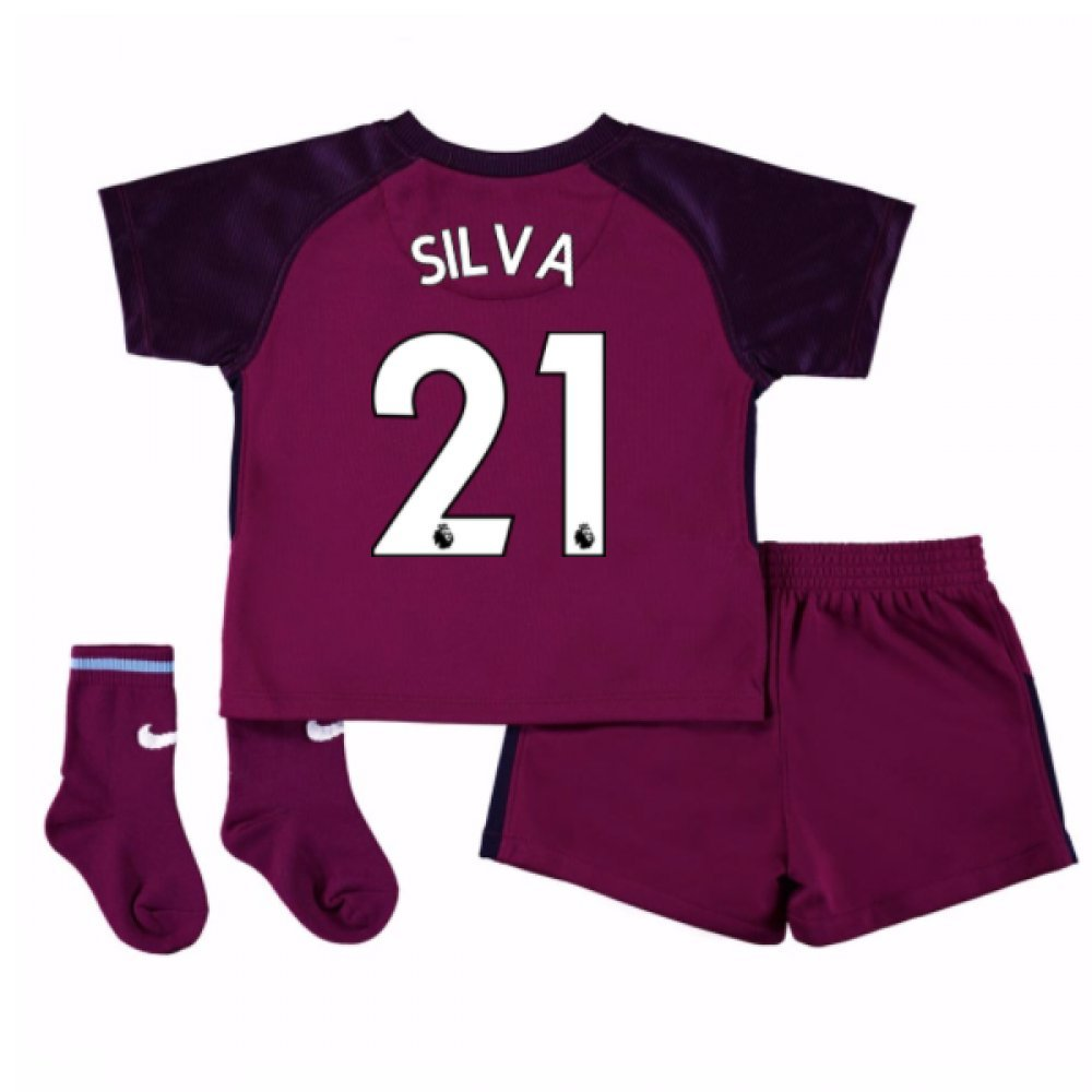 UKSoccershop 2017-18 Man City Away Baby Kit (David Silva 21)