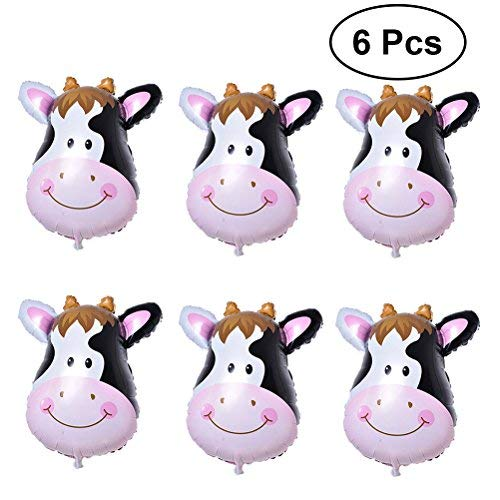 (TOYMYTOY 6Pcs Cute Animal Cow Balloons Foil Helium Ballon Kit for Zoo Theme Birthday Party Decorations (Cow)