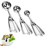 Ice-Cream Scoop,Metal Ice Cream Scoop with Trigger, Scoops Thickening Stainless Steel Set of 3 Include Small-Medium-Large Size Balls Spoon for Scooping Muffins, Cookies, Rice Balls or Disher by Saebye