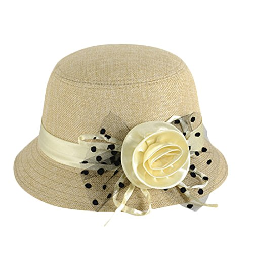 (Voberry Women's Retro Ribbon Flower Bow Solid Color Fedora Bowler Hat Caps (D))