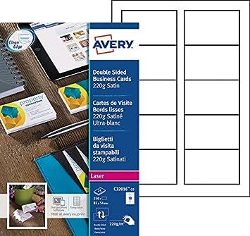 Avery 250 Cartes De Visite Bords Lisses 220g