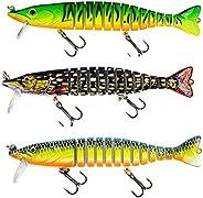 DECOnology 3 Packs Swimming Fishing Fake Lures 12 Segement Wobbler Multi Jointed Swimbaits Hard Lures Fishing