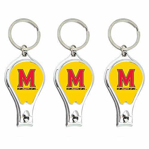Worthy Promotional NCAA Maryland Terrapins Nail Clipper with Bottle Opener, Silver, Set of 3