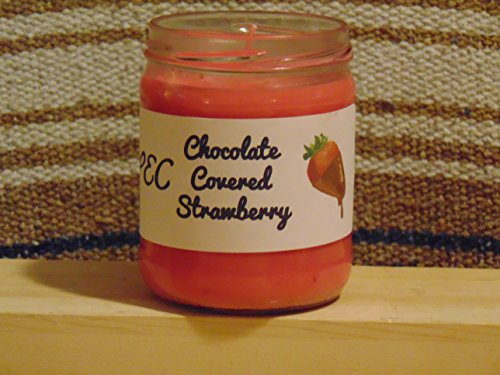 pristessentialcandles 16 oz. Chocolate Covered Strawberry Candle with Recycled Jar