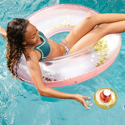 Glitter Ring Rose Pink - Inflatable Pool Toys Float Inflatable Floating Raft PVC Giant Popsicle Pool Lounger Air Mattress Blow Up Beach Toy for Kids Adults Summer Holiday - Made of Premium Strong PVC Material - By Guilty Gadgets