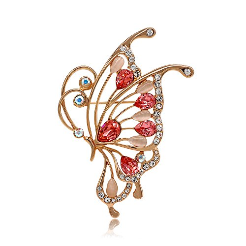 Kemstone Cubic Zirconia Cat's Eye Stone Filigree Butterfly Brooch Rose Gold Plated Animal Jewelry Women ()