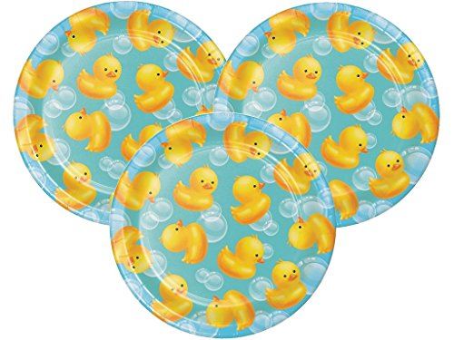 Rubber Ducky Bubble Bath Baby Shower Dessert Plates 24ct