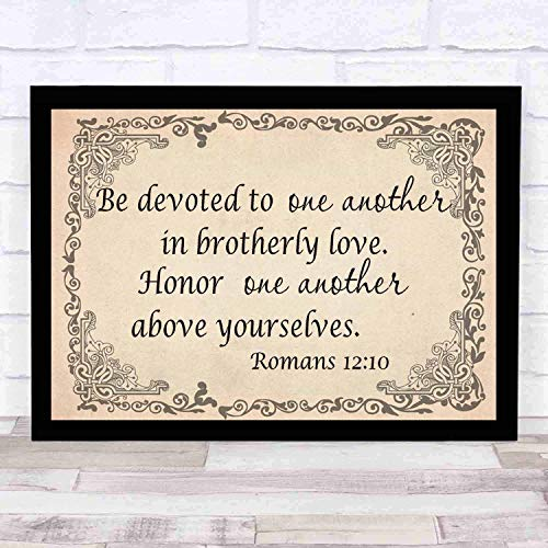 cupGTR :) Bible Wall Art-Perfect Christian Gift - with Frame - Size14x12in -Romans 1210, Be Devoted to One Another Brotherly Love Honor Above Yourselves (Be Devoted To One Another In Brotherly Love)