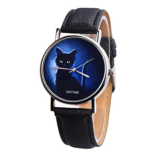 COOKI Women Watches On Sale Clearance Prime Ladies Fashion Mysterious Black Cat Wrist Quartz Watches with Leather Band Elegant Casual Analog Classic Business Watches for Women (Or Is Women Watch)