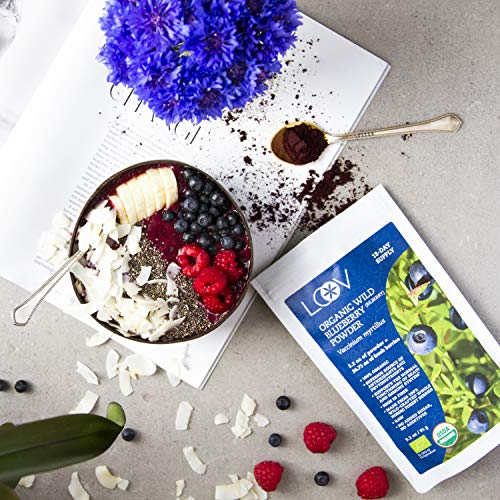 Organic Wild Blueberry Powder, wild-crafted from Nordic forests, 100% whole fruit blueberry, 35-day supply, 6 oz, freeze-dried and powdered wild blueberries, high in anthocyanins, free recipe book by LOOV (Image #7)