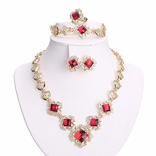 Moochi 18K Gold Plated Modern Fashion Chain Jewelry Set Red