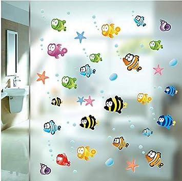 Pegatinas peces y burbujas para baño, mampara ducha, espejos ...
