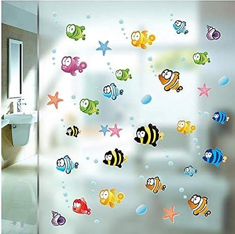 Pegatinas peces y burbujas para baño, mampara ducha, espejos, habitacinoes, guarderias baños piscinas, camping, ventaña baño caravana de CHIPYHOME: Amazon.es: Bricolaje y herramientas