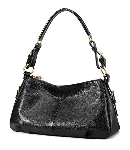 Kattee Soft Vintage Genuine Leather Purse Bag for Women (Black)