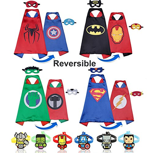 RioRand Cartoon Dress up Double-Sided Costumes 4pcs Capes 8 pcs Masks 6pcs Wristbands for Kids