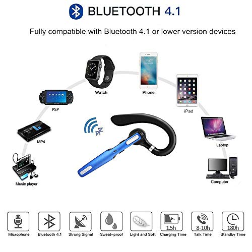 Bluetooth Headset COMEXION Wireless Bluetooth Earpiece V41 HandsFree Earphones with Stereo Noise Canceling Mic Compatible iPhone Android Cell Phones DrivingBusinessOffice Blue