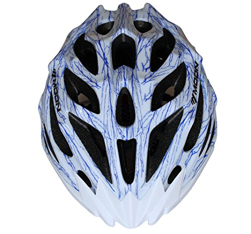 Moon-Sports-MTB-Road-Cycling-Helmet-27-Vents-Adult-Lightweight-Helmets-CE-EN1078-Approvals-PCEPS-White-Color-With-Blue-Veins-Adjustable-by-Moon