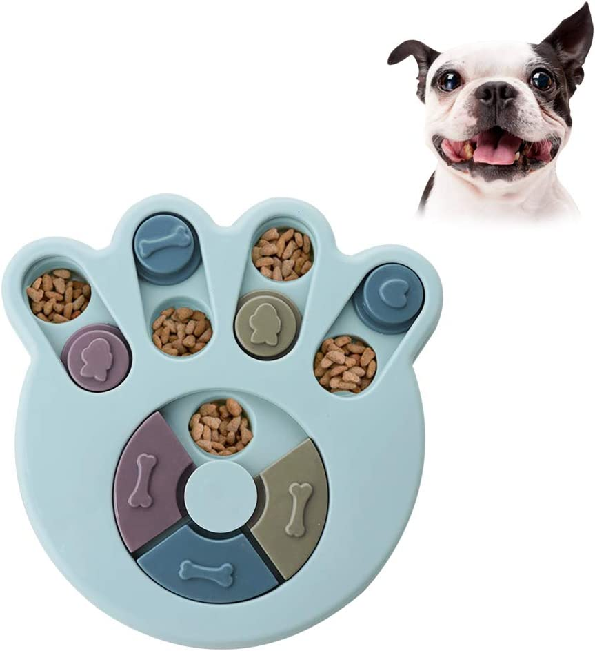 Andiker Dog Puzzle Feeder Toy,Pet Intelligence Fun Hide and Seek Food Toy,Puppy Treats Dispenser Interactive Toys Slow Feeding,Cat Brain Games Training for Boredom (Blue)