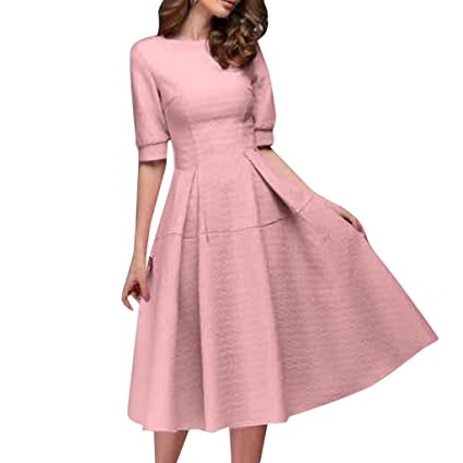 7d69895df Amazon.com  EnjoCho Women Spring O-Neck Dress 2019 Summer Women s ...