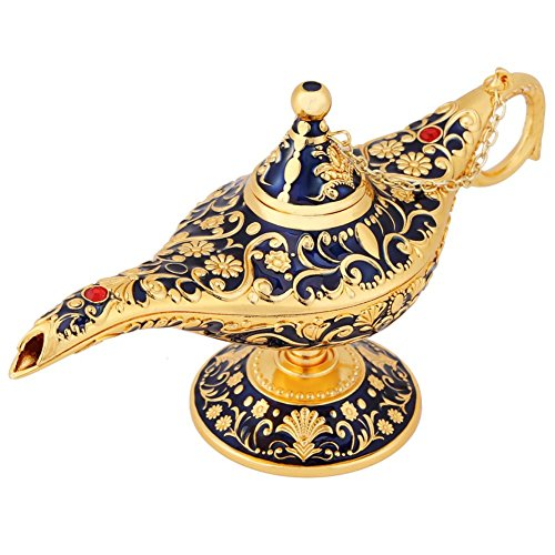 - Hongzer Oil Lamp, Vintage Metal Aladdin's Genie Lamp Carved Legend Wishing Oil Lamp Retro Furnishing Article Decoration for Teapot, Toothpick Box(Sapphire Blue)