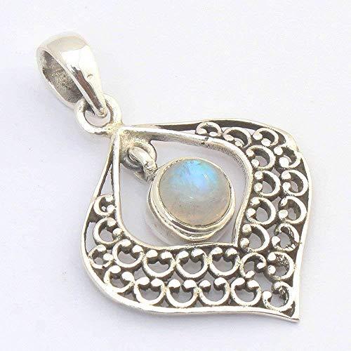 (Rainbow Moonstone Solid 925 Sterling Silver Filigree Pendant)